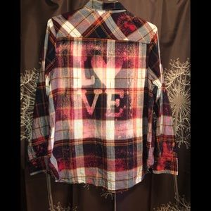 CUSTOM LOVE Plaid Bleached Long Sleeved Top Shirt